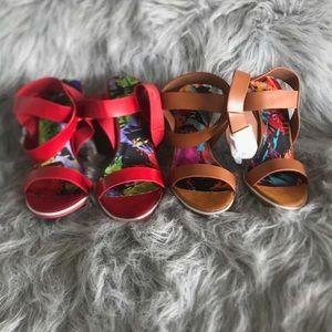 Women's Red Open Toe Ankle Strap Heel